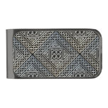 Silver Black Square Shapes Celtic Knotwork Pattern Gunmetal Finish Money Clip
