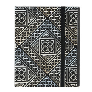 Silver Black Square Shapes Celtic Knotwork Pattern iPad Case