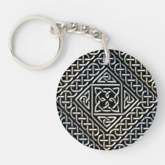 Silver Black Square Shapes Celtic Knotwork Pattern Keychain