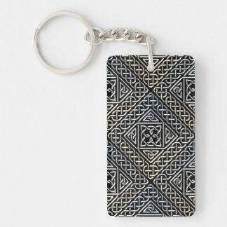 Silver Black Square Shapes Celtic Knotwork Pattern Double-Sided Rectangular Acrylic Keychain