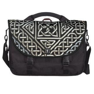 Silver Black Square Shapes Celtic Knotwork Pattern Bag For Laptop