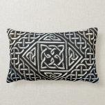 Silver Black Square Shapes Celtic Knotwork Pattern Lumbar Pillow