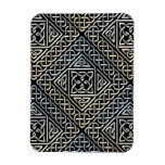 Silver Black Square Shapes Celtic Knotwork Pattern Magnet