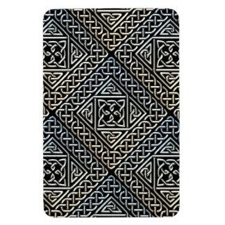 Silver Black Square Shapes Celtic Knotwork Pattern Magnet