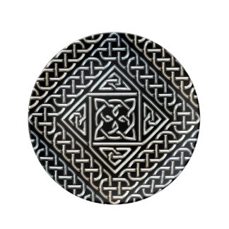 Silver Black Square Shapes Celtic Knotwork Pattern Porcelain Plates