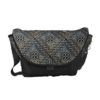 Silver Black Square Shapes Celtic Knotwork Pattern Courier Bags