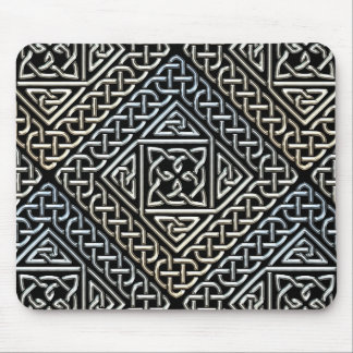 Silver Black Square Shapes Celtic Knotwork Pattern Mouse Pad