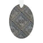 Silver Black Square Shapes Celtic Knotwork Pattern Ornament