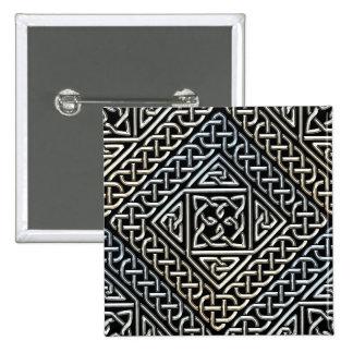 Silver Black Square Shapes Celtic Knotwork Pattern Pinback Button