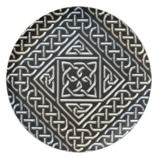 Silver Black Square Shapes Celtic Knotwork Pattern Dinner Plate