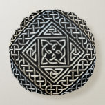 Silver Black Square Shapes Celtic Knotwork Pattern Round Pillow