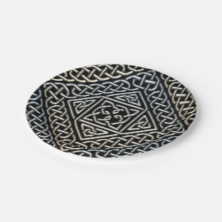 Silver Black Square Shapes Celtic Knotwork Pattern 7 Inch Paper Plate