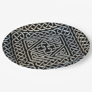 Silver Black Square Shapes Celtic Knotwork Pattern 9 Inch Paper Plate