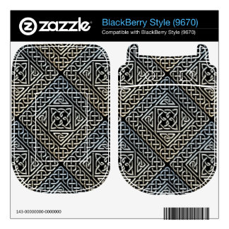 Silver Black Square Shapes Celtic Knotwork Pattern Skin For The BlackBerry