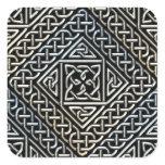Silver Black Square Shapes Celtic Knotwork Pattern Square Sticker