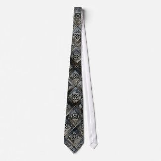 Silver Black Square Shapes Celtic Knotwork Pattern Tie