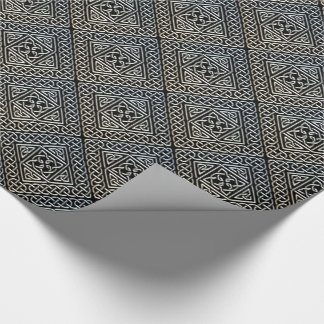 Silver Black Square Shapes Celtic Knotwork Pattern Wrapping Paper