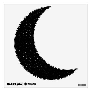 Silver, Black Starry Moon Room Decal