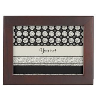 Silver & Black Stripes And Glitter Spots Keepsake Box