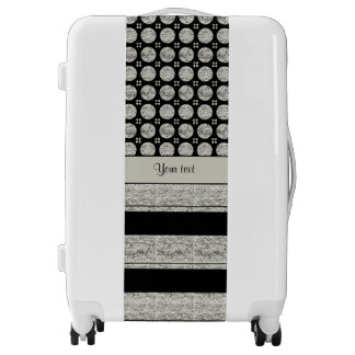 Silver & Black Stripes And Glitter Spots Luggage