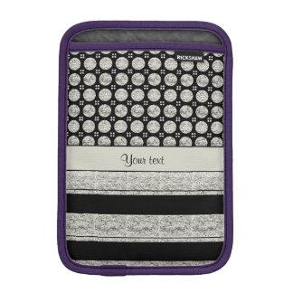 Silver & Black Stripes And Glitter Spots Sleeve For iPad Mini