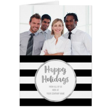 Professional Business Silver Black Stripes Christmas Business Photo Card