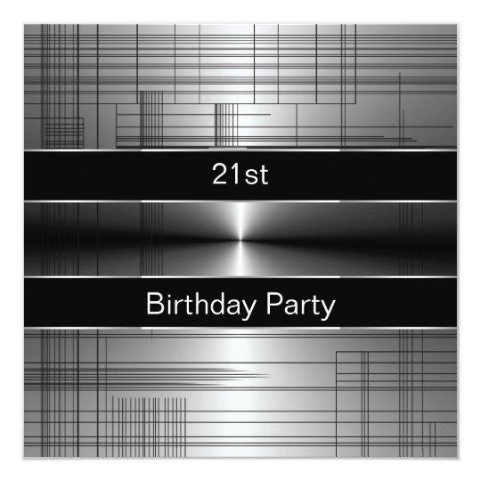 Silver Black Stripes Mans 21st Birthday Party Card