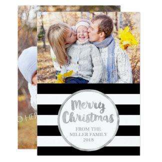 Silver Black Stripes Merry Christmas Photo Card