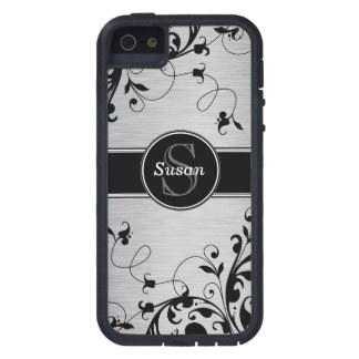 SILVER BLACK SWIRLS YOUR MONOGRAM COVER FOR iPhone 5