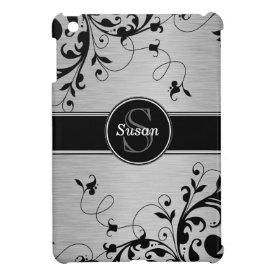 SILVER BLACK SWIRLS YOUR MONOGRAM iPad MINI COVERS