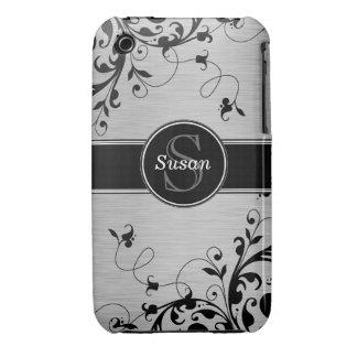 SILVER BLACK SWIRLS YOUR MONOGRAM iPhone 3 CASE