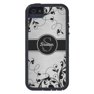 SILVER BLACK SWIRLS YOUR MONOGRAM iPhone SE/5/5s CASE