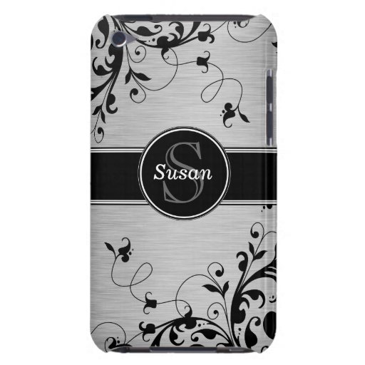 SILVER BLACK SWIRLS YOUR MONOGRAM iPod TOUCH CASE