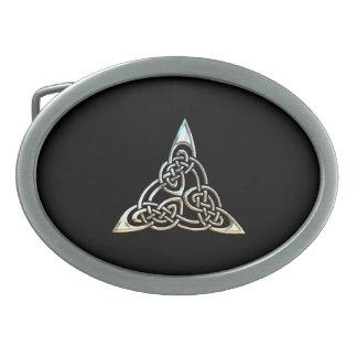 Silver Black Triangle Spirals Celtic Knot Design Belt Buckle
