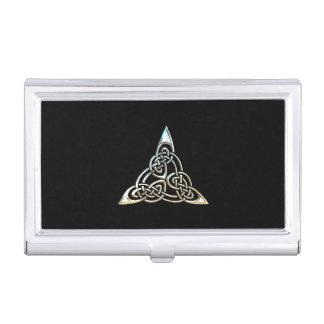 Silver Black Triangle Spirals Celtic Knot Design Business Card Holder