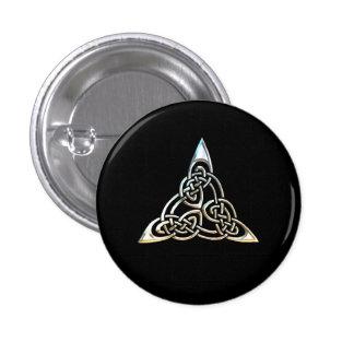Silver Black Triangle Spirals Celtic Knot Design Pin