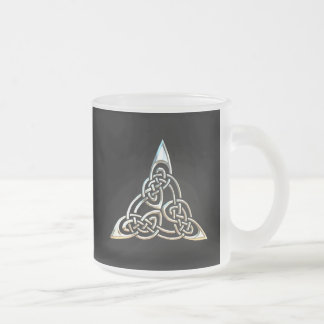 Silver Black Triangle Spirals Celtic Knot Design Frosted Glass Coffee Mug