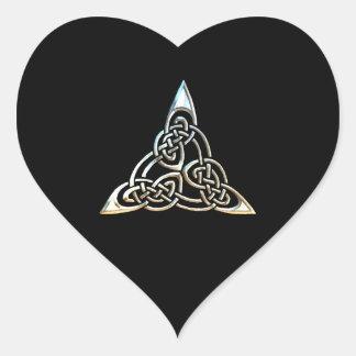 Silver Black Triangle Spirals Celtic Knot Design Heart Sticker