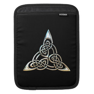 Silver Black Triangle Spirals Celtic Knot Design iPad Sleeve