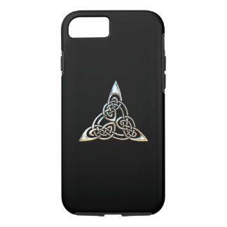 Silver Black Triangle Spirals Celtic Knot Design iPhone 7 Case