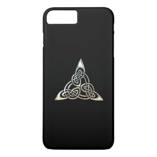 Silver Black Triangle Spirals Celtic Knot Design iPhone 7 Plus Case