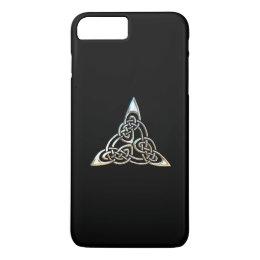 Silver Black Triangle Spirals Celtic Knot Design iPhone 8 Plus/7 Plus Case