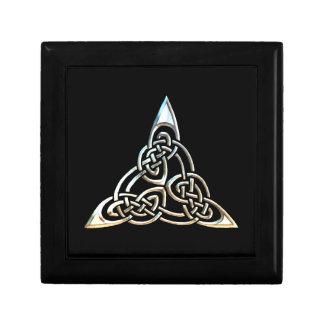 Silver Black Triangle Spirals Celtic Knot Design Keepsake Box