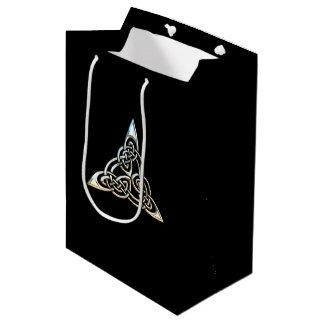 Silver Black Triangle Spirals Celtic Knot Design Medium Gift Bag