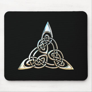 Silver Black Triangle Spirals Celtic Knot Design Mouse Pad