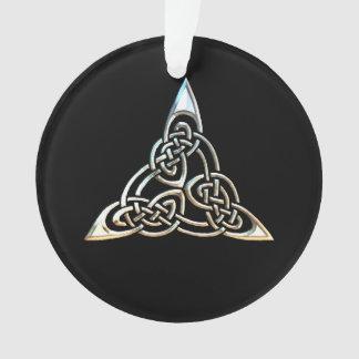 Silver Black Triangle Spirals Celtic Knot Design Ornament
