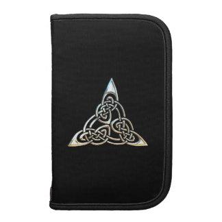 Silver Black Triangle Spirals Celtic Knot Design Folio Planners