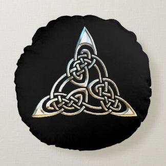 Silver Black Triangle Spirals Celtic Knot Design Round Pillow