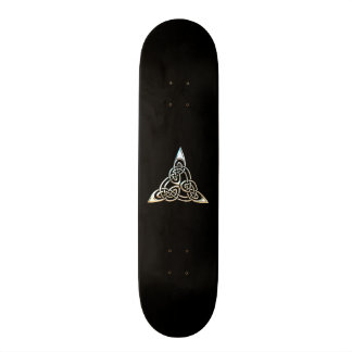 Silver Black Triangle Spirals Celtic Knot Design Skateboard Decks