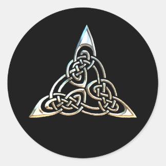 Silver Black Triangle Spirals Celtic Knot Design Classic Round Sticker